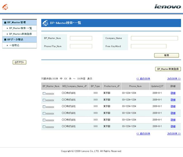 活鱼设计工作室——联想BP_Master数据库系统列表页面